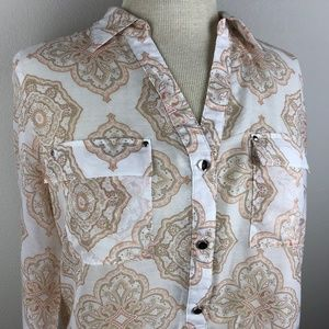WHBM Long Sleeve Blouse Size 14 Cream Tan